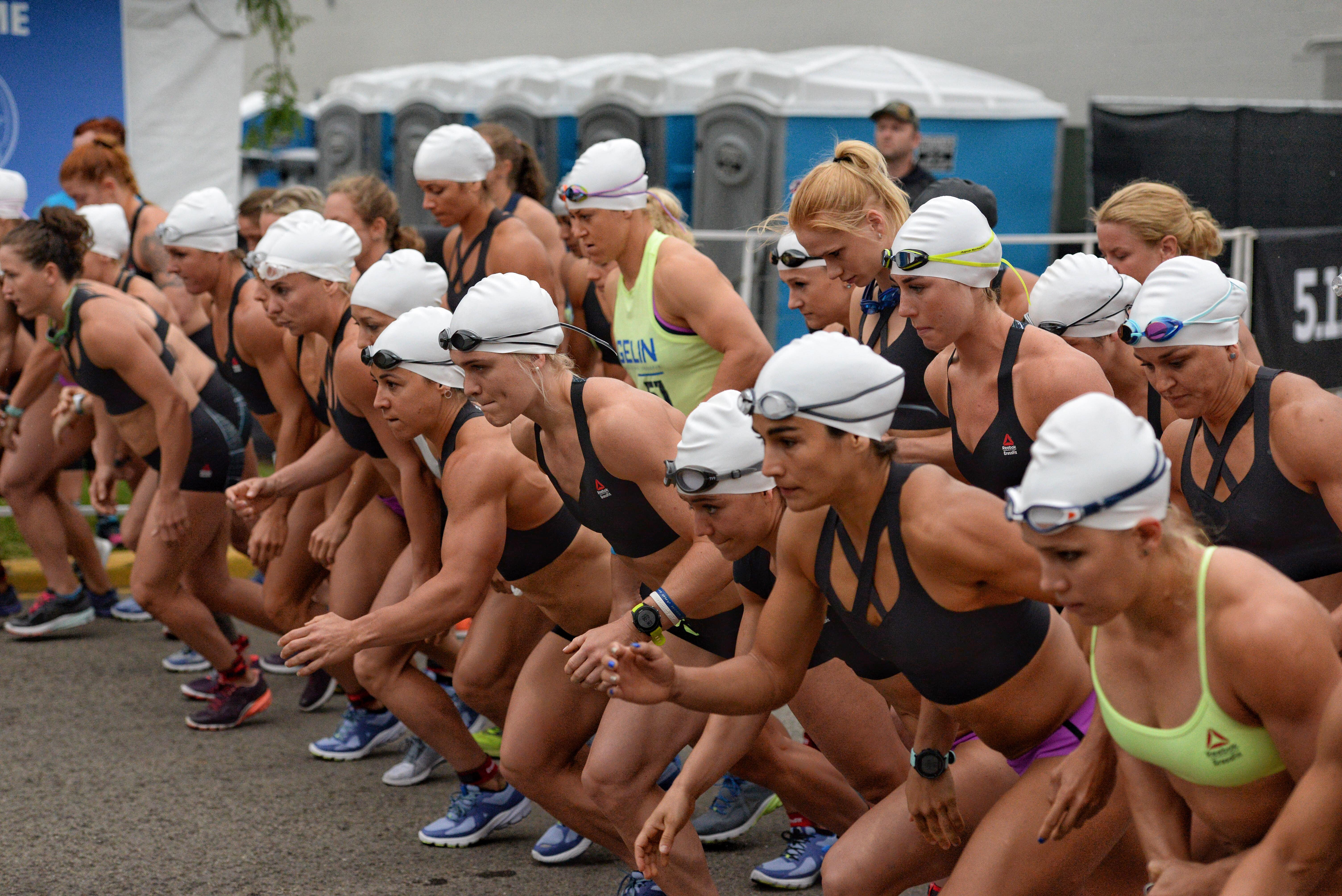 863b69d54d990 Individual women at the start of Run Swim Run