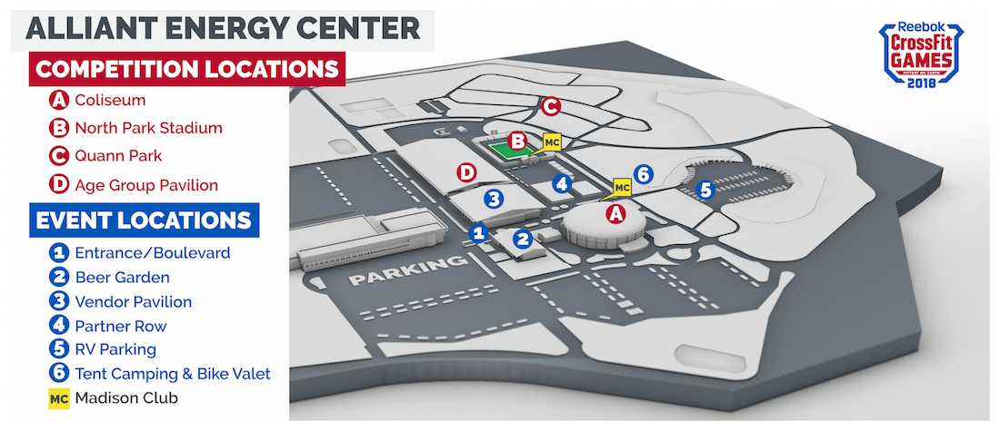 Alliant Energy Center campus, including Madison Club locations