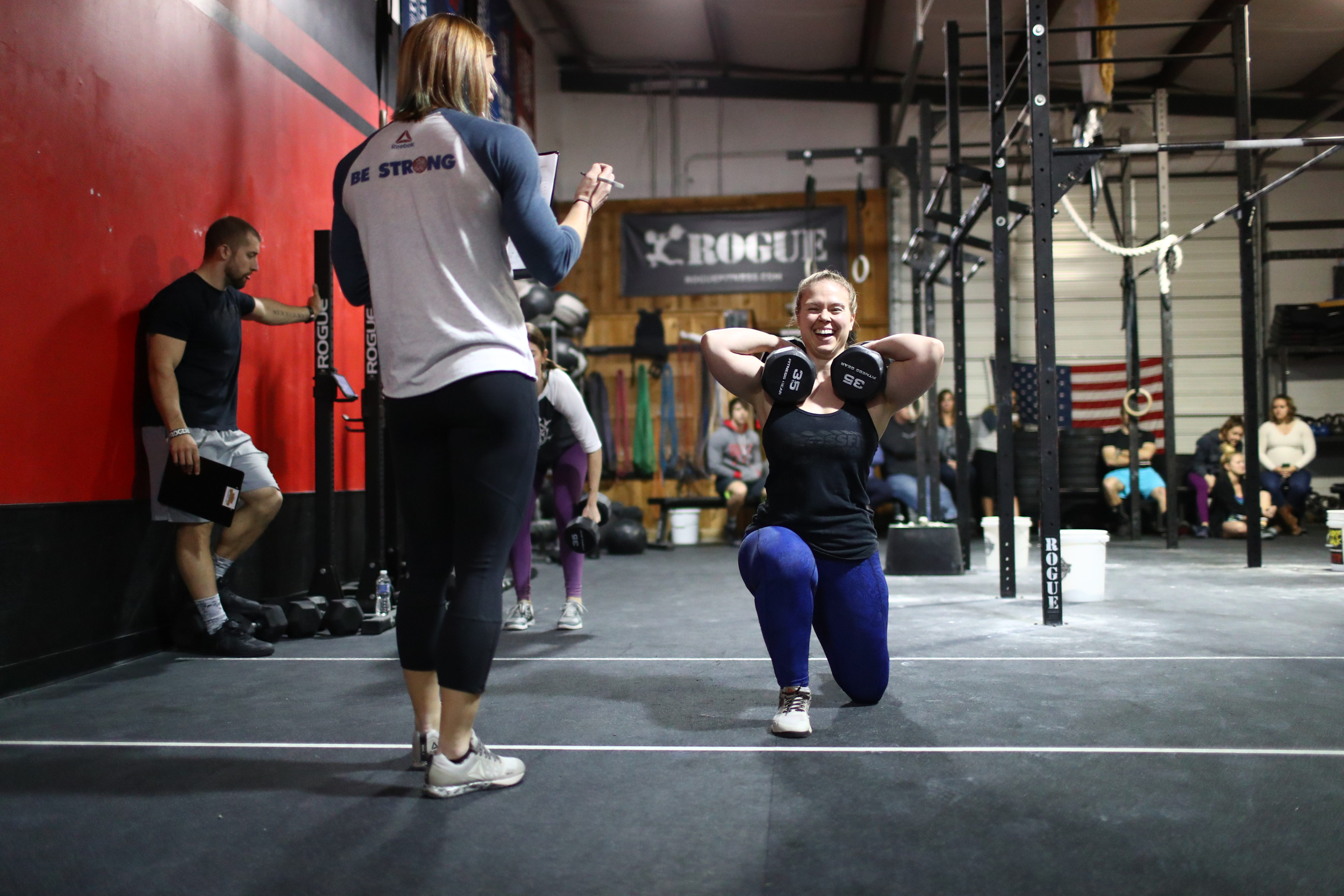 Open Workout 17.2 at a CrossFit Affiliate, Dumbbell lunge walks