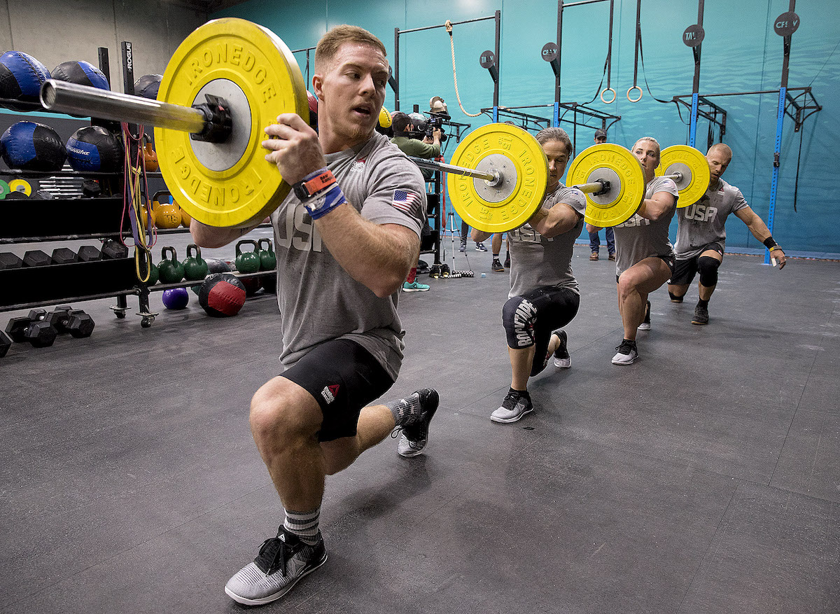 Team USA practices for the 2017 CrossFit Invitational. From left to right: Noah Ohlsen, Kari Pearce, Tennil Beuerlein-Reed, and Scott Panchik (Photo by Daniel Anderson)