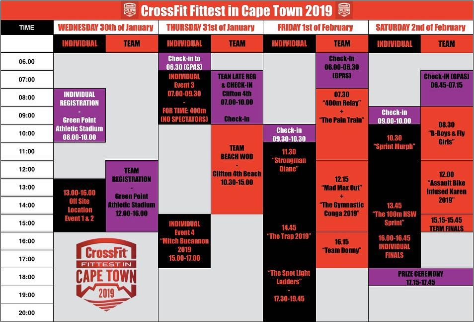 Fittest in Cape Town Event Schedule