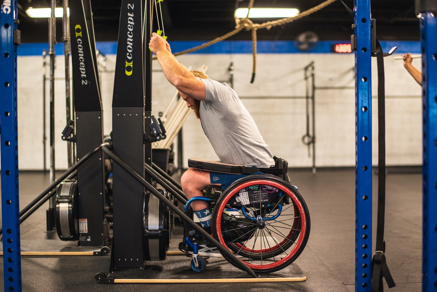 Adaptive athletes working out