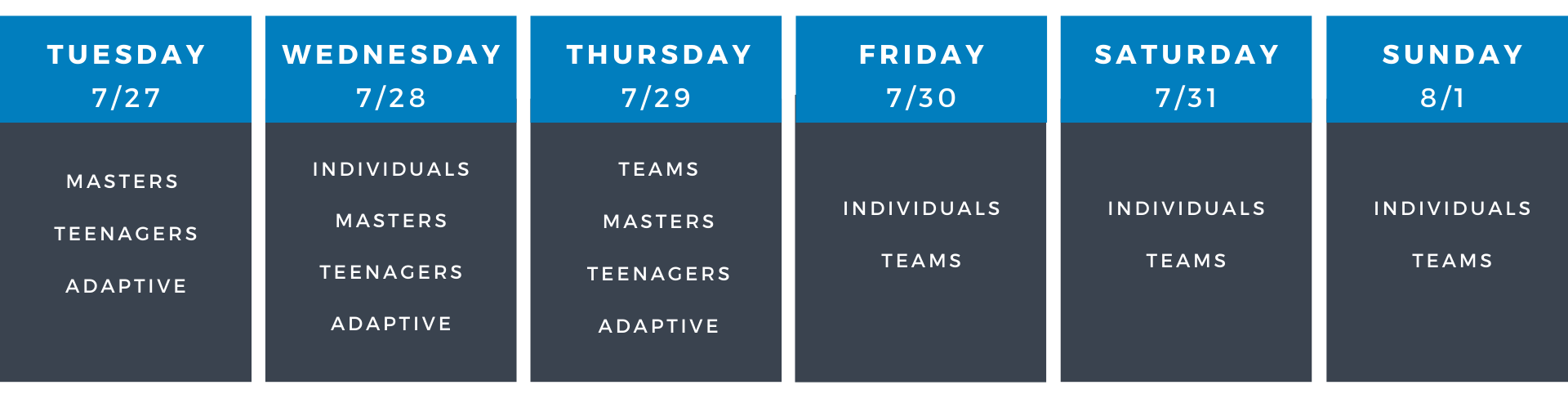 Divisions Schedule