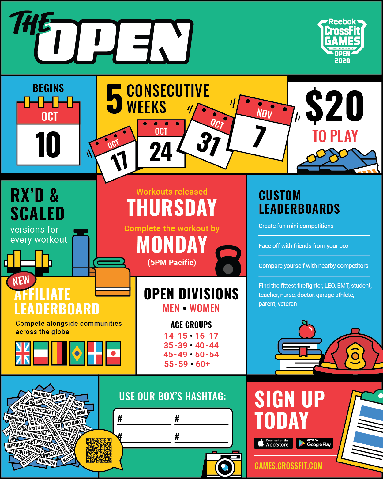 Crossfit Games 2020 Schedule.2020 Crossfit Open Infographic Crossfit Games