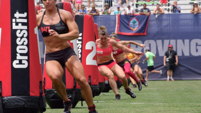 Women sprinting at the CrossFit Games