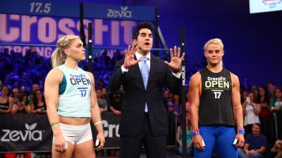 Katrin Davidsdottir, Dave Castro, and Sara Sigmundsdottir at a live Open announcement