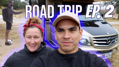 Tia-Clair Toomey and Shane Orr on a road trip
