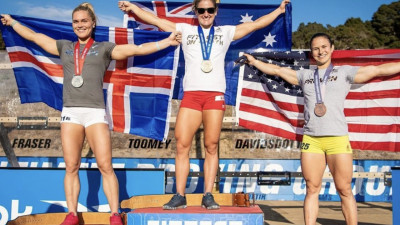 Katrin Davidsdottir, Tia Toomey, and Kari Pearce on 2020 podium