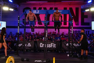 Masters athletes' muscle-ups, during the final minutes of 18.3.
