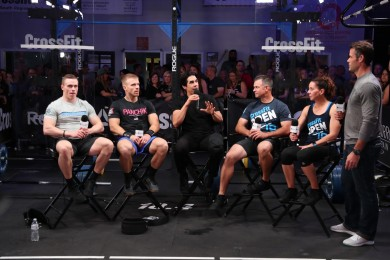 Athletes are interviewed prior to Open Workout 18.4.
