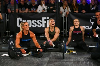 Sara Sigmundsdottir, Katrin Davidsdottir and Annie Thorisdottir are sweaty and all smiles.