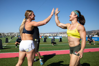 Brooke Wells and Kari Pearce after Handstand Sprint