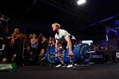 Patrick Vellner sets up for a heavy squat clean.