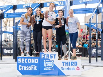 Top five women at the West Regional on the podium, headed to the Games.