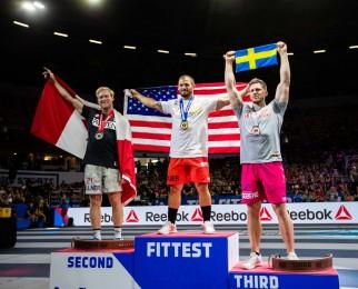 Men's Podium: Patrick Vellner (2nd), Mat Fraser (1st), and Lukas Högberg (3rd)