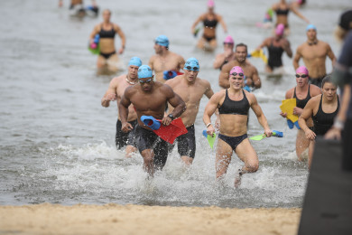 Individual athletes exiting the water in Event 1