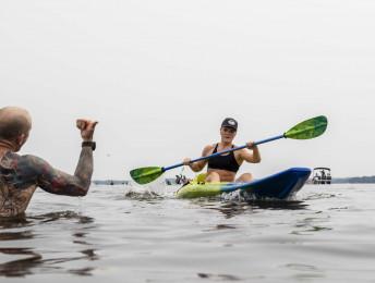 Katrin Davidsdottir kayaking in Event 1