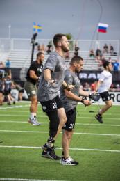 Adaptive athletes jumping rope