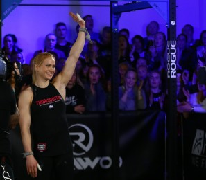 Annie Thorisdottir waves to the crowd.