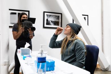 Kristi Eramo O'Connell taking COVID test